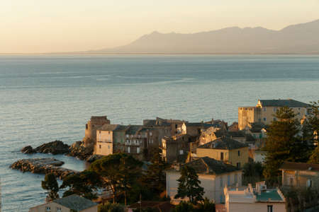 View of the village of Erbalunga at sunrise, Cap Corse in Corsica, France Stock Photo