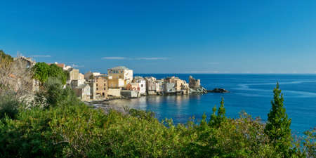 View of the village of Erbalunga, Cap Corse in Corsica, France Stock Photo