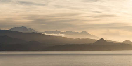 Panorama of Monte Cinto mountains at sunset in Corsica