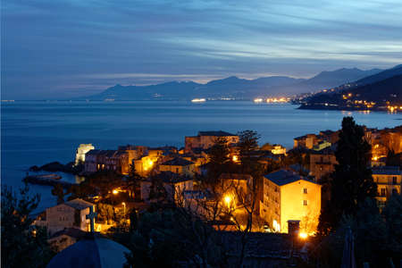 View of the village of Erbalunga at night, Cap Corse in Corsica, France