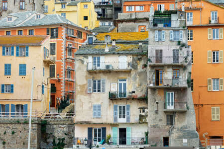 Old buildings in the old port of Bastia, Corsica