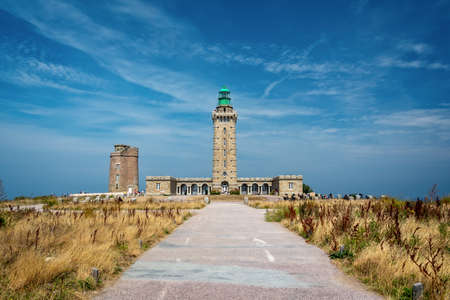 Cap Frehel lighthouse in Côtes d'Armor, Brittany, France Stock Photo
