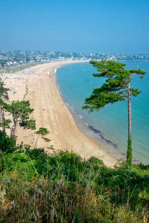 View of the beach of Saint-Cast-Le-Guildo in summer in Côtes d'Armor, Britanny, France