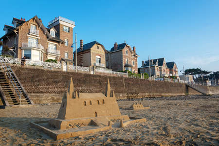 Sand castle on the beach of Pléneuf-Val-André, Côtes d'Armor, Britanny, France