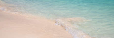 Sand and caribbean tropical beach, panoramic summer background
