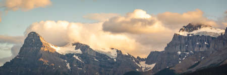 Panorama of Mount Outram at sunset, view from Icefields Parkway in Banff National Park, Alberta, Rocky Mountains, Canada