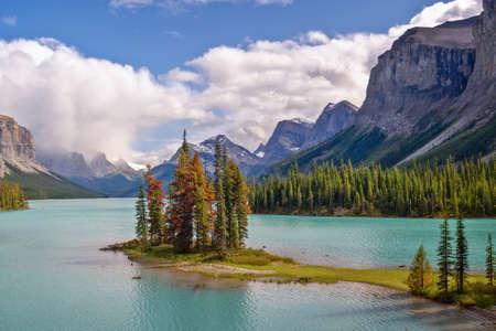 Spirit island in Maligne lake, Jasper National Park, Alberta, Rocky Mountains, Canada