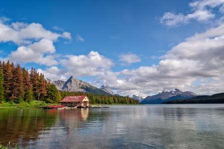 Boat house at Maligne lake in Jasper National Park, Alberta, Rocky Mountains, Canada Stock Photo