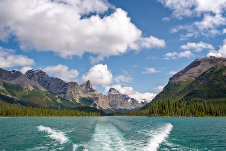 Boat cruise on Maligne lake, Jasper National Park, Alberta, Rocky Mountains, Canada Stock Photo