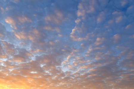 Beautiful sky at sunset with clouds, alternative sky, nature background