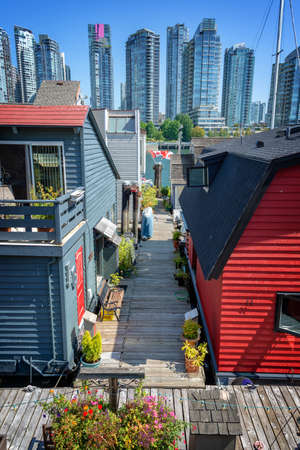 Sea village, floating houses on Granville island in Vancouver, British Columbia, Canada