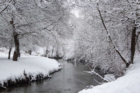 Winter river in the forest aftre the snowfall