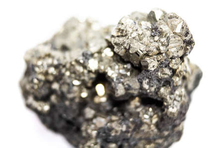 Natural pyrite natural cut without treatment on a white background Stock Photo