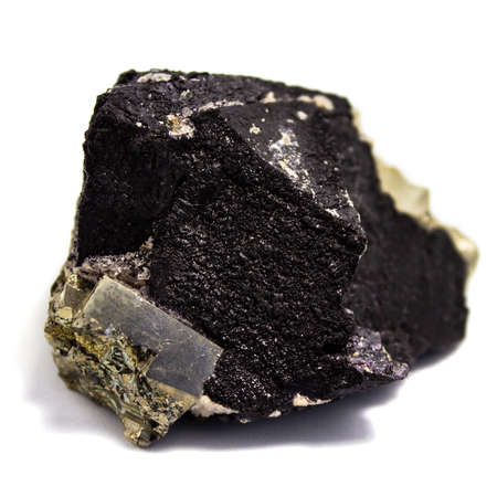 Natural pyrite natural cube cut with a metallic shine on a white background Stock Photo