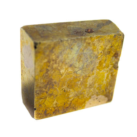 Natural mineral pyrite cube on white background