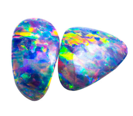 Polished natural colorful blue iridescent opal on white background