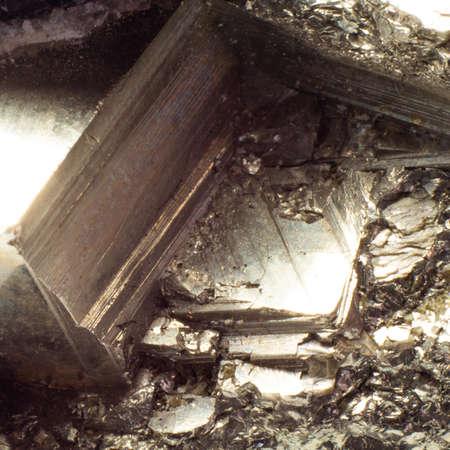 Natural fool gold pyrite close up texture