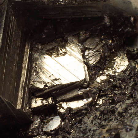 Natural fool gold pyrite close up texture 스톡 콘텐츠 - 129105969