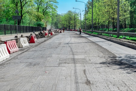 Repair of roads. The road with the removed layer of asphalt. Road works.