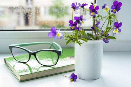 Wildflowers, book and glasses on the window in rainy weather.