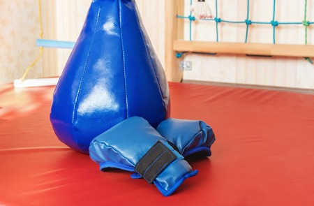 Childrens sports area. Punching bag and gloves