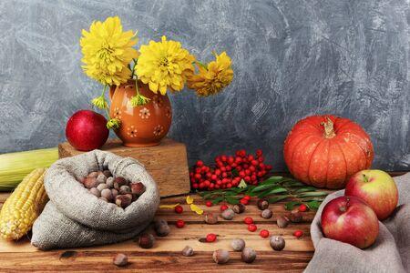 Rustic still life. Pumpkin, apples, corn and nuts in burlap.