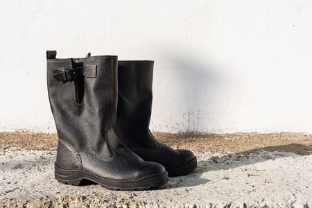 New black polished working male high boots