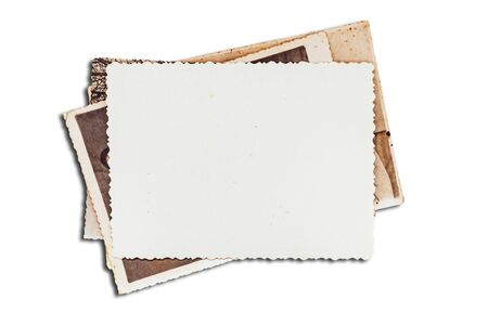 Old photos on white isolated background. Blank old group photo 写真素材