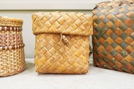 Shoulder Box. Retro wicker baskets. Country style 写真素材