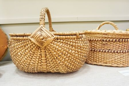 Wicker baskets with lid. Eco retro baskets