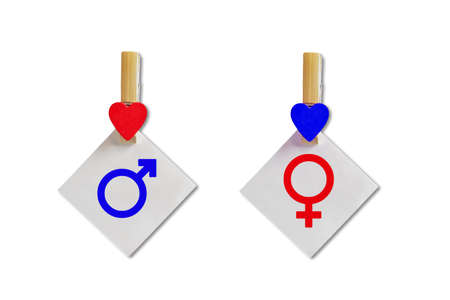 Male and female signs. Concept of the symbol of gender equality. Clothespins with hearts hold paper sheets with symbols .. Isolated on a white background Zdjęcie Seryjne