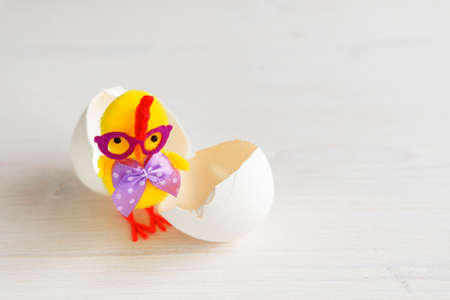 One chick with an egg shell. Toy yellow chicken with glasses and a bow. 免版税图像