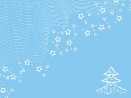 Blue winter wallpaper with cristmas tree & stars Vector