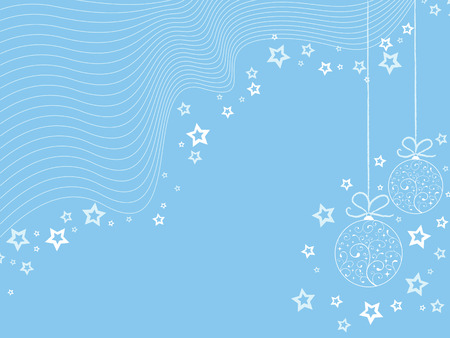 Blue christmas wallpaper with toys & stars Vector