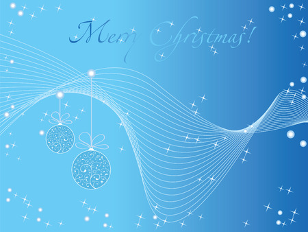 Blue christmas wallpaper with cristmas tree toys & stars &  Vector