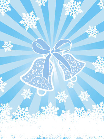 tinsel: Christmas card with bells and snowflakes on blue background with rays