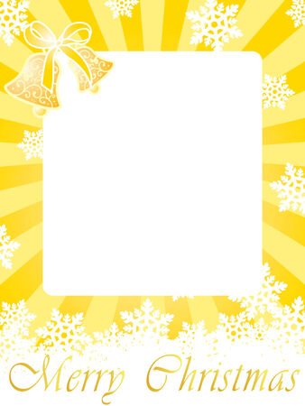 Christmas frame (card) with bells, snowflakes and greeting text on gold background with rays Vector