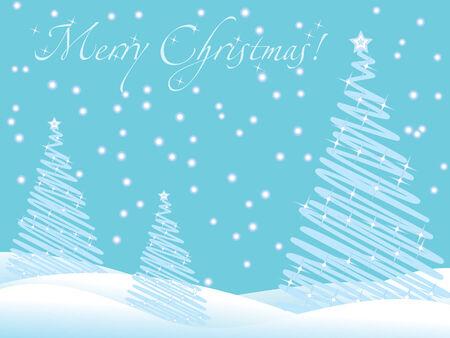Blue christmas wallpaper with new year trees and snow and greeting text Vector