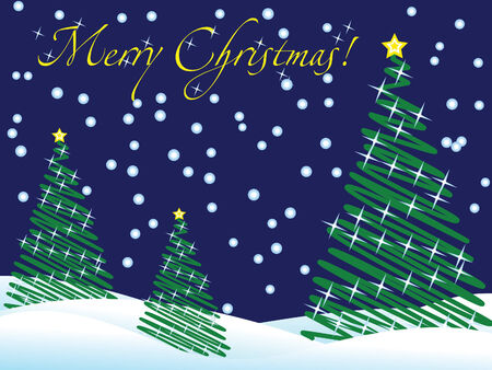 Christmas wallpaper with new year trees and snow and greeting text Vector