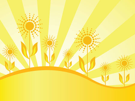 Spring wallpaper with seven sunflowers on gold background with sunbeams Vector
