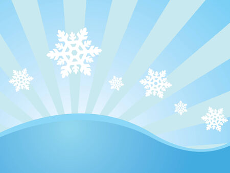Winter wallpaper with seven snowflakes on blue background with sunbeams Illustration