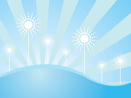 Winter wallpaper with seven sunflowers on blue background with sunbeams Vector