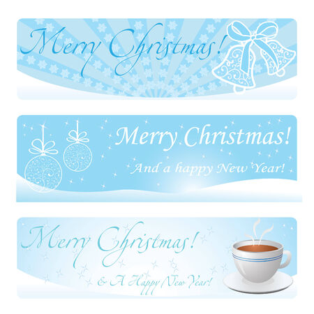 Three christmas blue banners Illustration