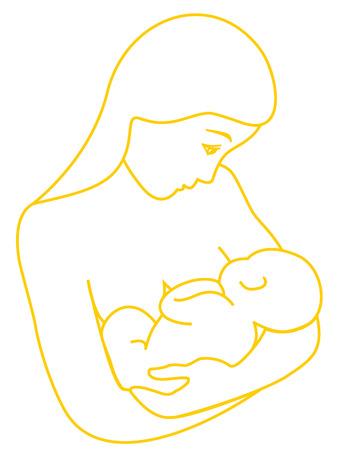 mum and daughter: Giovane donna al seno il suo bambino