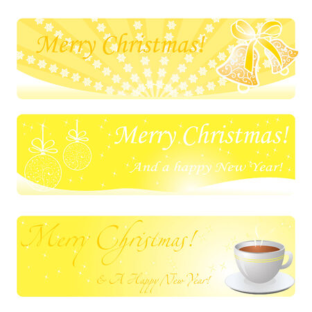 Three christmas gold banners with bells, toys, hot cup etc.