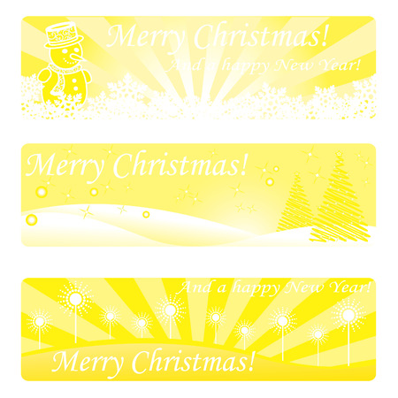 ave: Three christmas gold banners with snowman, trees etc.