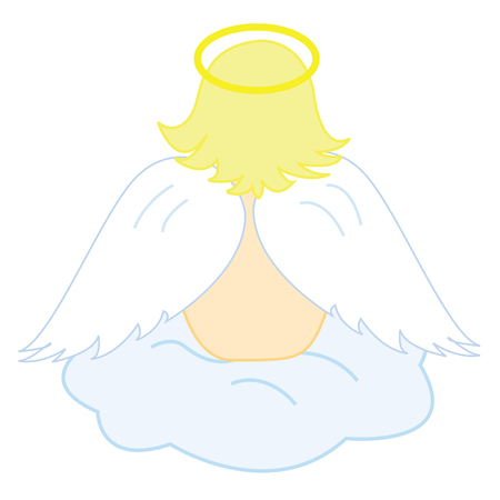 Baby angel sitting on fluffy cloud Vector