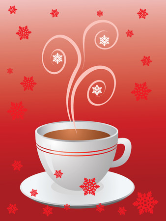 saucer: Christmas hot cup of coffee on red with snowflakes