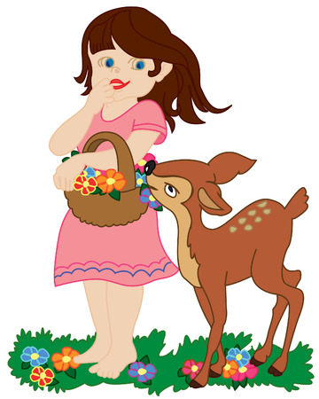 Girl and small deer walking on a lawn