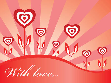 Red loving wallpaper with hearts and text Vector